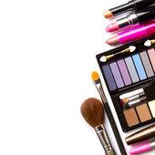 化妆刷和化妆品,隔绝,在白色背景上的与