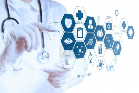 Medicine doctor hands working with modern computer interface