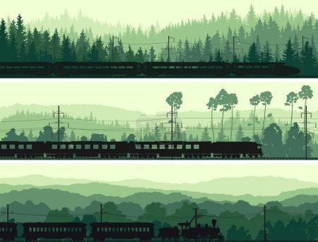 Horizontal banners of locomotive, train and hills coniferous woo
