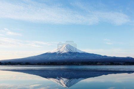 富士山的翻转的图像