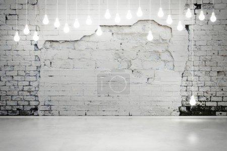 Old brick wall and bulbs