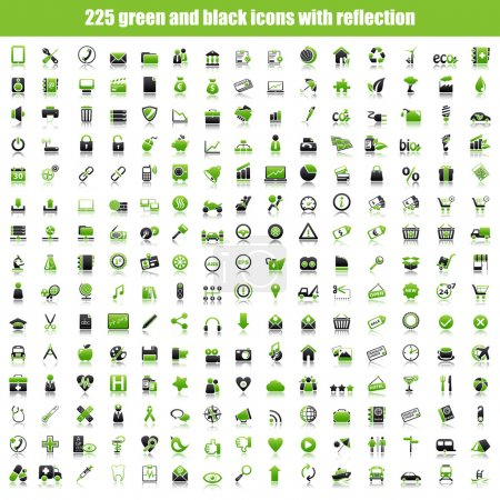 Green and black icons with reflection