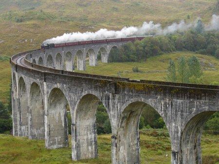 格兰芬兰高架桥上的蒸汽火车