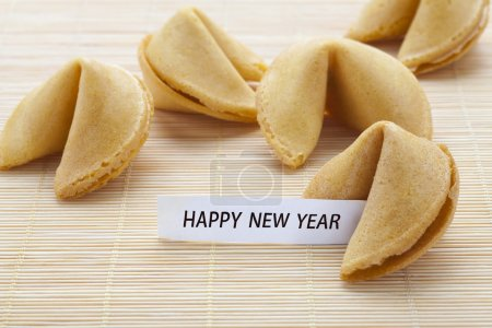 Fortune cookie stating that happy new year
