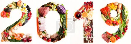 Assortment of Fresh Vegetables and Meats Arranged in 2019