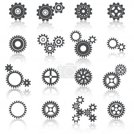 抽象技术齿轮车轮和齿轮图标设置矢量图