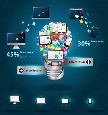 Technology business software and social media computer networking service concept, Creative light bulb with cloud of colorful application icon