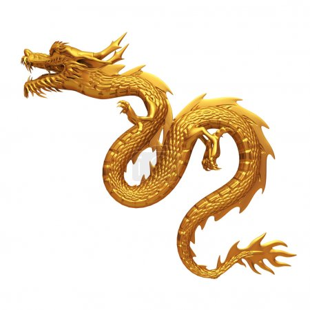 Golden chinese dragon pose